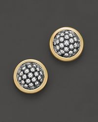 "Lagos - Metallic Sterling Silver ""caviar"" Button Earrings - Lyst"