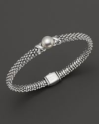 Lagos | Metallic Luna Sterling Silver Caviar Bracelet With Pearl | Lyst