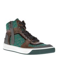 Lanvin   Green Hitop Knit Trainer for Men   Lyst