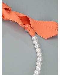 Lanvin | White Pearl and Flower Necklace | Lyst