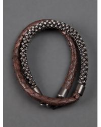 Laura B | Brown Snake Skin Bracelet for Men | Lyst