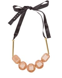 Marni | Pink Resin Bead Ribbon Necklace | Lyst