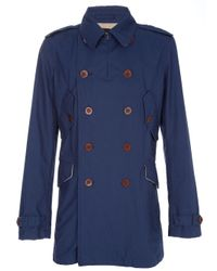 PS by Paul Smith | Dark Blue Washed Cotton Summer Pea Coat for Men | Lyst