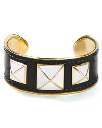 Rebecca Minkoff - Metallic Small Enamel Stud Leather Bracelet - Lyst