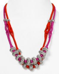 Rebecca Minkoff - Metallic Thread Wrapped Bali Bead Friendship Necklace 16 - Lyst