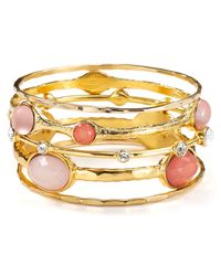 R.j. Graziano | Metallic Multi Stone Bangles Set Of 5 | Lyst