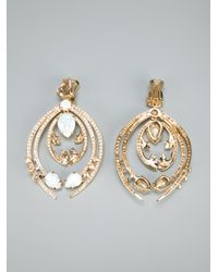 Roberto Cavalli - Metallic Crystal Clip Earrings - Lyst