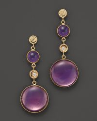 Roberto Coin | 18k Yellow Gold Diamond and Purple Enamel Small Earrings | Lyst