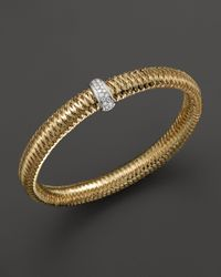 Roberto Coin | Metallic 18k Yellow And White Gold Diamond Medium Primavera Bangle | Lyst