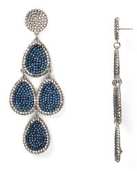 Roni Blanshay - Metallic Pave Teardrop Chandelier Earrings - Lyst
