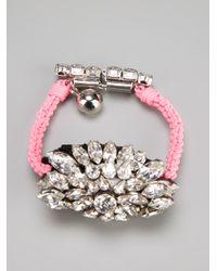 Shourouk - Metallic Crystal Embellished Braided Bracelet - Lyst