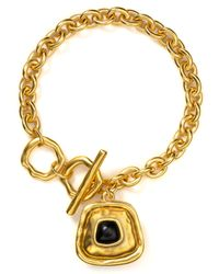 T Tahari | Metallic Hammered Gold Black Charm Toggle Bracelet | Lyst