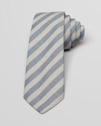 Theory - Gray End On End Bar Stripe Skinny Tie for Men - Lyst