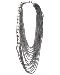 Melanie Georgacopoulos   Metallic Multi Chain and Pearl Necklace   Lyst