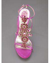 Rene Caovilla - Pink Jewel Embellished Sandal - Lyst