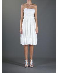 Vanessa Bruno | White Strapless Ruffle Dress | Lyst