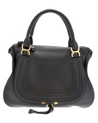 Chloé | Black The Marcie Large Textured-Leather Tote | Lyst