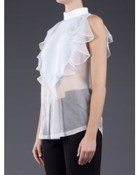 Givenchy - Blue Ruffled Trimmed Blouse - Lyst