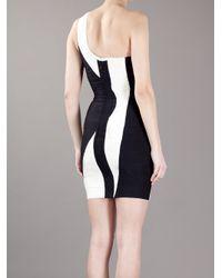 Hervé Léger Black One Shoulder Fitted Bodycon Dress