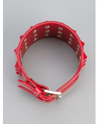 Valentino | Red Leather Rockstud Cuff | Lyst