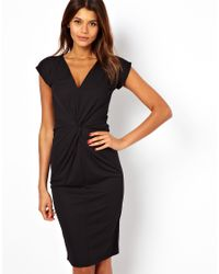 ASOS - Black Crepe Dress With Twisted Waist Detail - Lyst