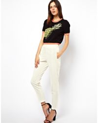ASOS - White Trousers with High Waist - Lyst