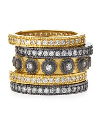 Belargo | Metallic Fivestack Cz Circle Rings | Lyst
