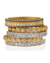 Freida Rothman | Metallic Five-stack Mixed Bezel Eternity Rings | Lyst