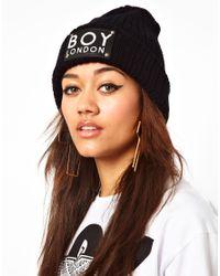 ASOS - Black Boy London Beanie Hat - Lyst
