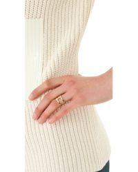 Campbell - Metallic Delicate Double Ring - Lyst
