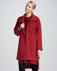 Eileen Fisher - Red Melton Long Wool Coat - Lyst