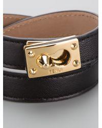 Fendi - Black Double Wrap Bracelet - Lyst