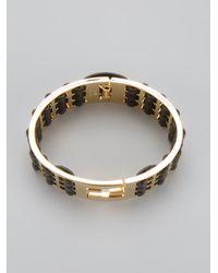 Fendi - Metallic Woven Leather Brass Cuff - Lyst