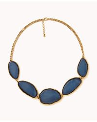 Forever 21 | Blue Faux Marble Nugget Necklace | Lyst
