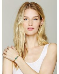 Free People - Green Brass Cluster Bracelet - Lyst