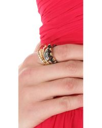 Iosselliani - Black Stacking Mixed Crystal Ring Set - Lyst
