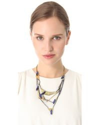 Iosselliani - Metallic Multi Strand Crystal Necklace - Lyst