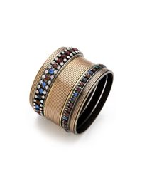 Iosselliani - Multicolor Set Of 5 Rhinestone Bangles - Lyst