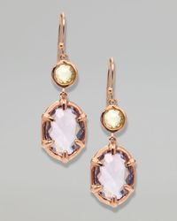 Ippolita | Metallic Twostone Drop Earrings Rose Gold | Lyst