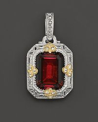 Judith Ripka | Metallic Sterling Silver and 18k Gold Estate Enhancer Pendant with Labcreated Red Corundum and White Sapphires | Lyst