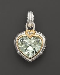 Judith Ripka | Metallic Sterling Silver Large Green Heart Stone Enhancer | Lyst