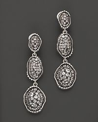 "Judith Ripka | Metallic Sterling Silver ""Mercury"" Organic Triple Drop Earrings With White Sapphires 
