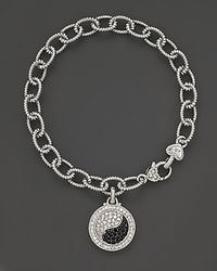 Judith Ripka - Metallic Sterling Silver Ying Yang Bracelet with Black and White Sapphires - Lyst