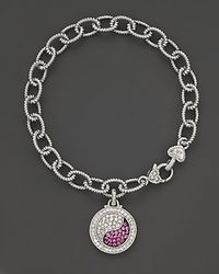 Judith Ripka - Sterling Silver Ying Yang Charm Bracelet With White And Pink Sapphires - Lyst
