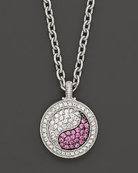 "Judith Ripka - Ying Yang Pendant Necklace With White And Pink Sapphires, 17"" - Lyst"