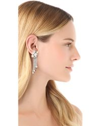 Juicy Couture - White Rhinestone Fringe Earrings - Lyst