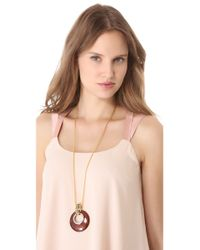 Kenneth Jay Lane | Brown Leopard Disc Pendant Necklace | Lyst