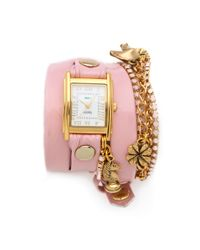 La Mer Collections | Pink Crystal Ballerina Charm Watch | Lyst
