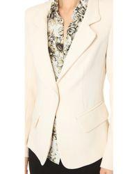 L'Agence | Beige Notch Collar Blazer | Lyst