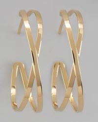Lana Jewelry | Metallic Small Gold Crossover Hoop Earrings | Lyst